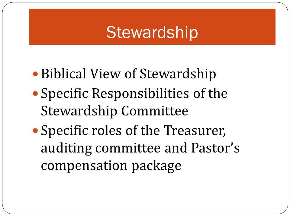 Stewardship Biblical View of Stewardship Specific Responsibilities of the Stewardship Committee Specific roles of the Treasurer, auditing committee an