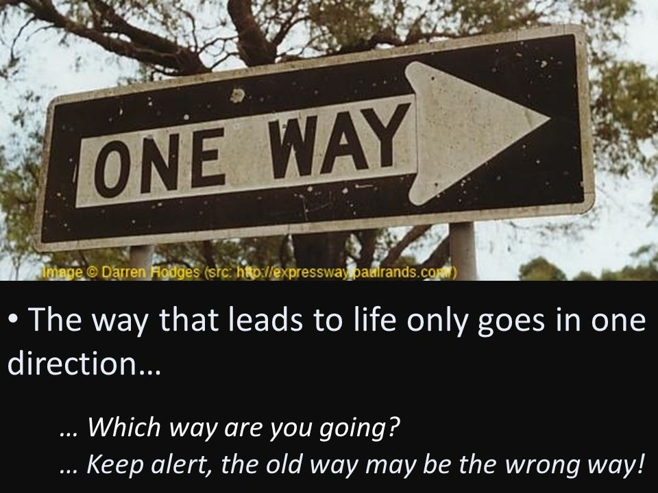 The way that leads to life only goes in one direction… … Which way are you going? … Keep alert, the old way may be the wrong way!