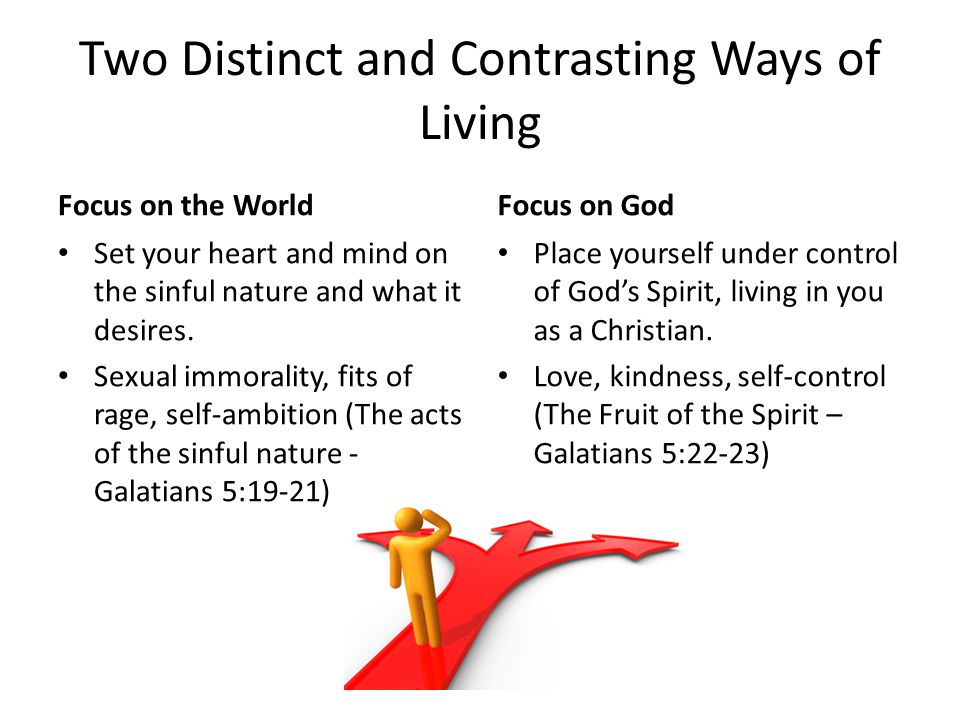 Two Distinct and Contrasting Ways of Living Focus on the World Set your heart and mind on the sinful nature and what it desires.