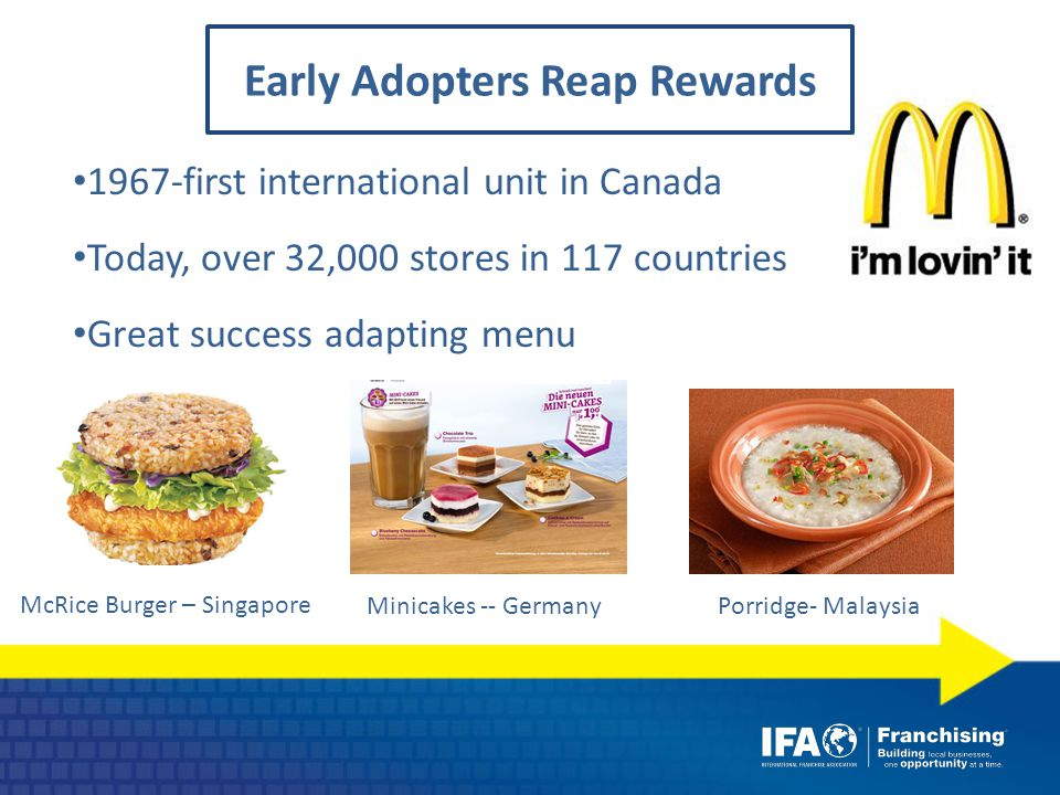 1967-first international unit in Canada Today, over 32,000 stores in 117 countries Great success adapting menu Minicakes -- Germany McRice Burger – Singapore Porridge- Malaysia Early Adopters Reap Rewards