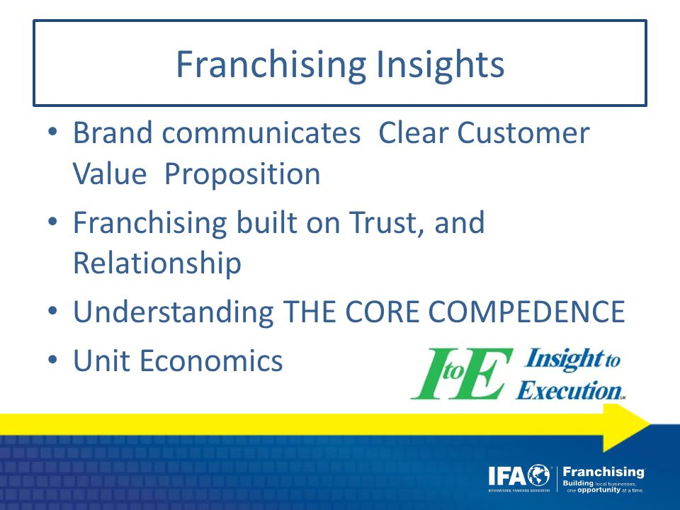 Franchising Insights Brand communicates Clear Customer Value Proposition Franchising built on Trust, and Relationship Understanding THE CORE COMPEDENCE Unit Economics