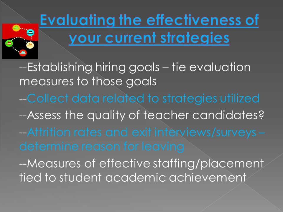 --Establishing hiring goals – tie evaluation measures to those goals --Collect data related to strategies utilized --Assess the quality of teacher candidates.
