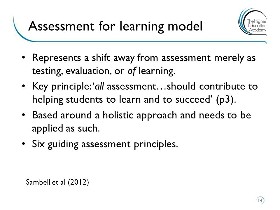 Represents a shift away from assessment merely as testing, evaluation, or of learning. Key principle: 'all assessment…should contribute to helping stu