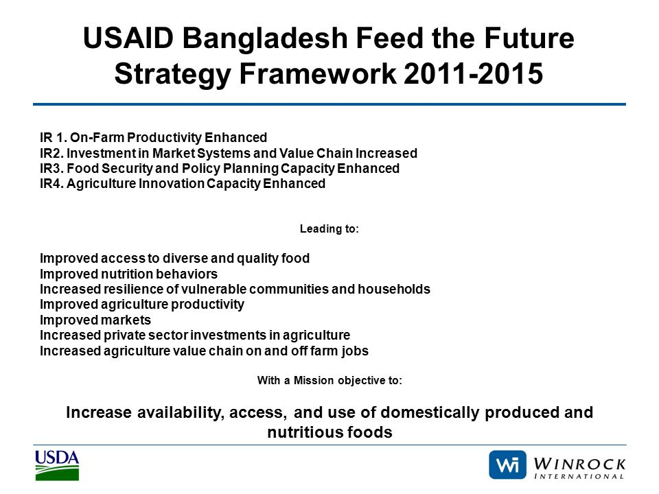 USAID Bangladesh Feed the Future Strategy Framework 2011-2015 IR 1. On-Farm Productivity Enhanced IR2. Investment in Market Systems and Value Chain In