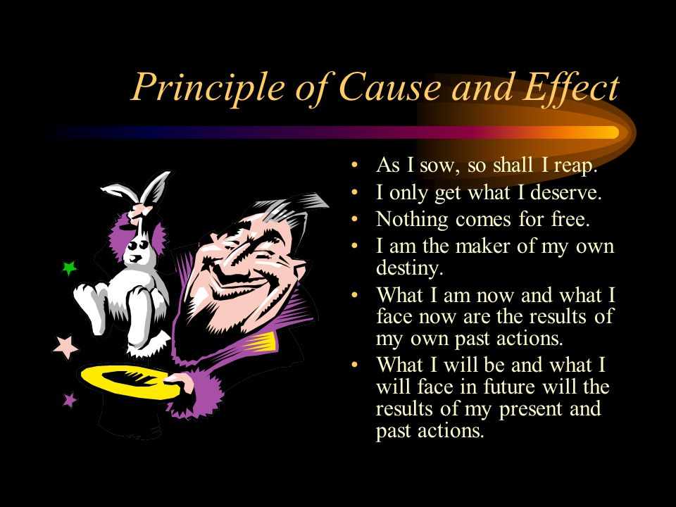 Principle of Cause and Effect As I sow, so shall I reap.