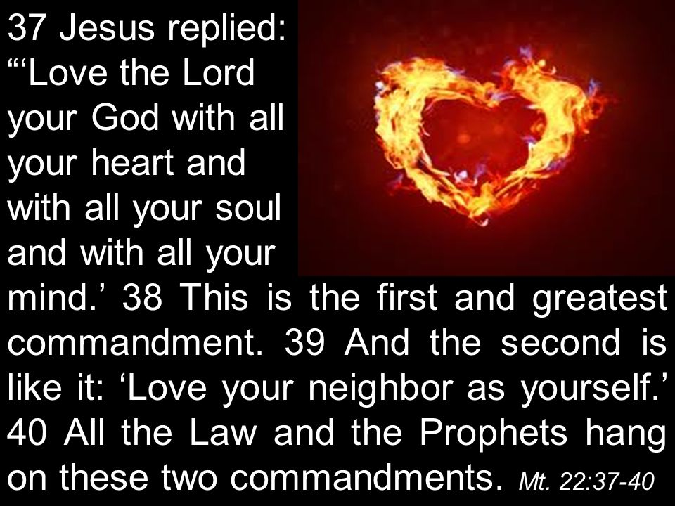 37 Jesus replied: 'Love the Lord your God with all your heart and with all your soul and with all your mind.' 38 This is the first and greatest commandment.