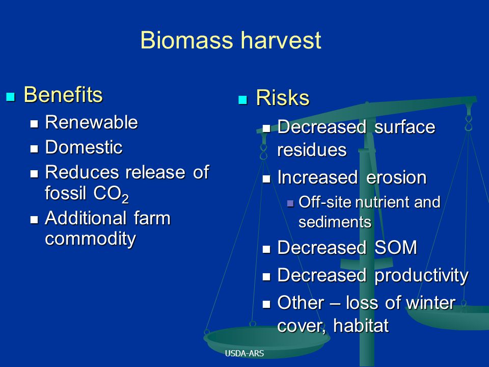 USDA-ARS Benefits Benefits Renewable Renewable Domestic Domestic Reduces release of fossil CO 2 Reduces release of fossil CO 2 Additional farm commodi