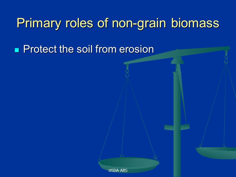 USDA-ARS Primary roles of non-grain biomass Protect the soil from erosion Protect the soil from erosion