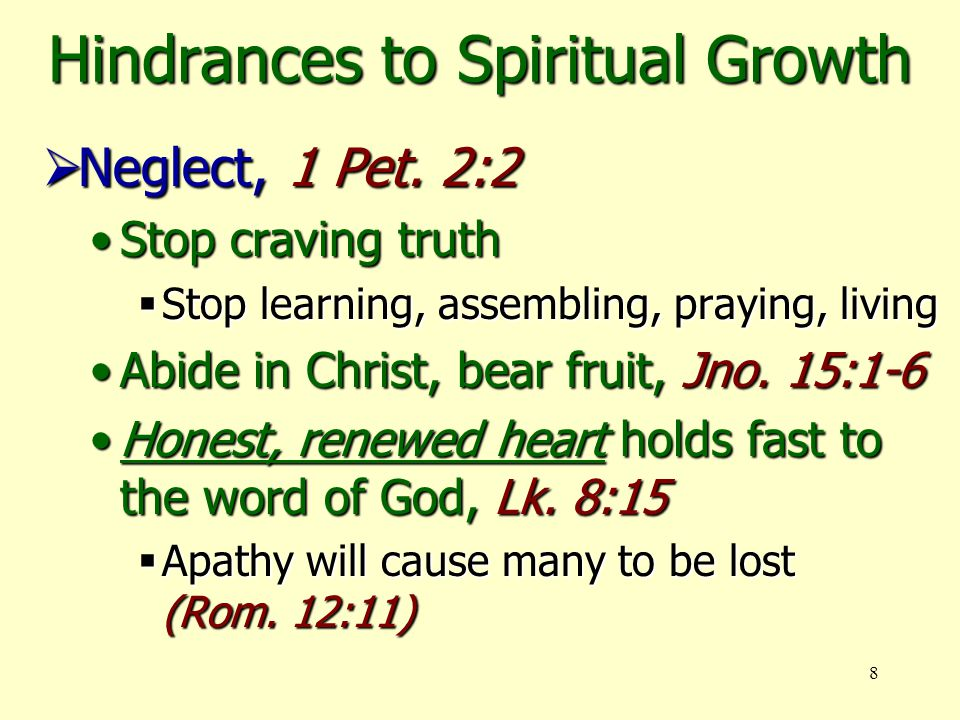 8 Hindrances to Spiritual Growth  Neglect, 1 Pet.