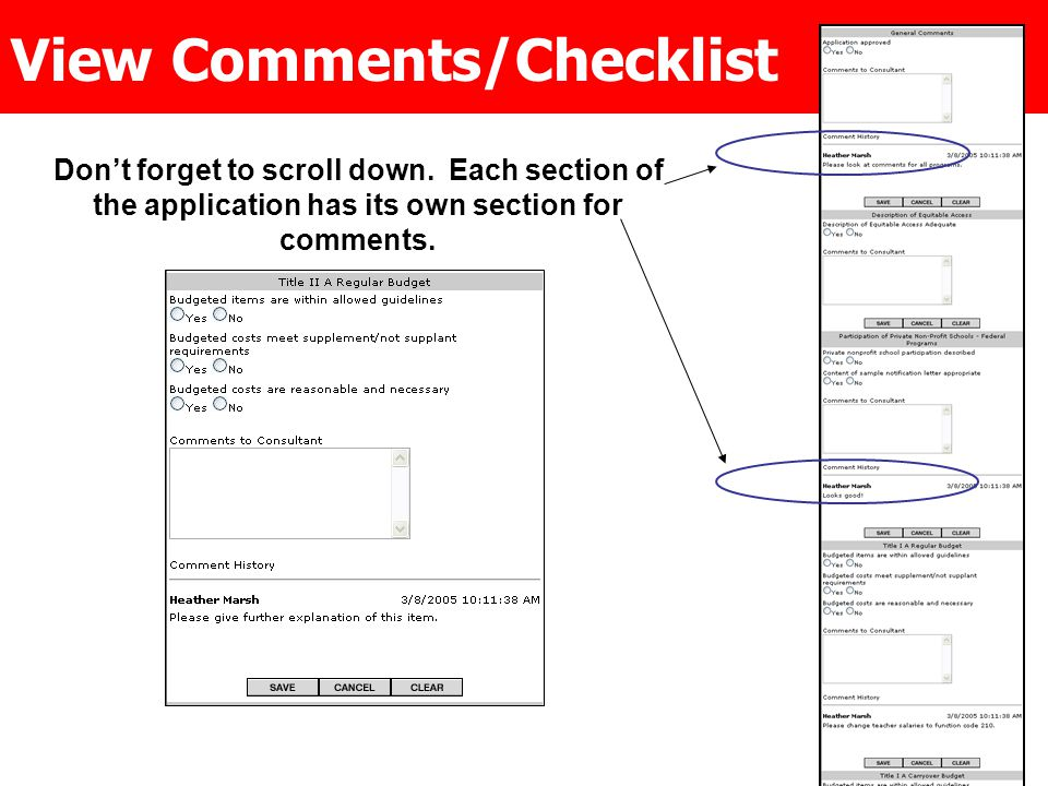 Don't forget to scroll down. Each section of the application has its own section for comments.