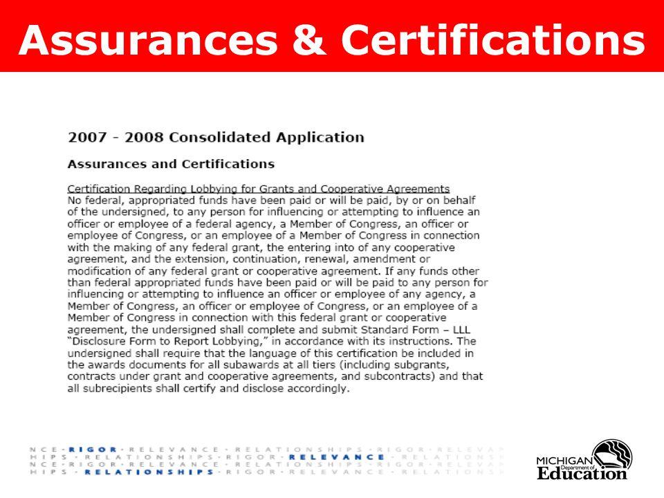 Assurances & Certifications