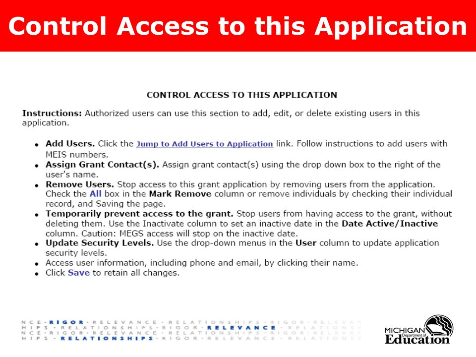 Control Access to this Application