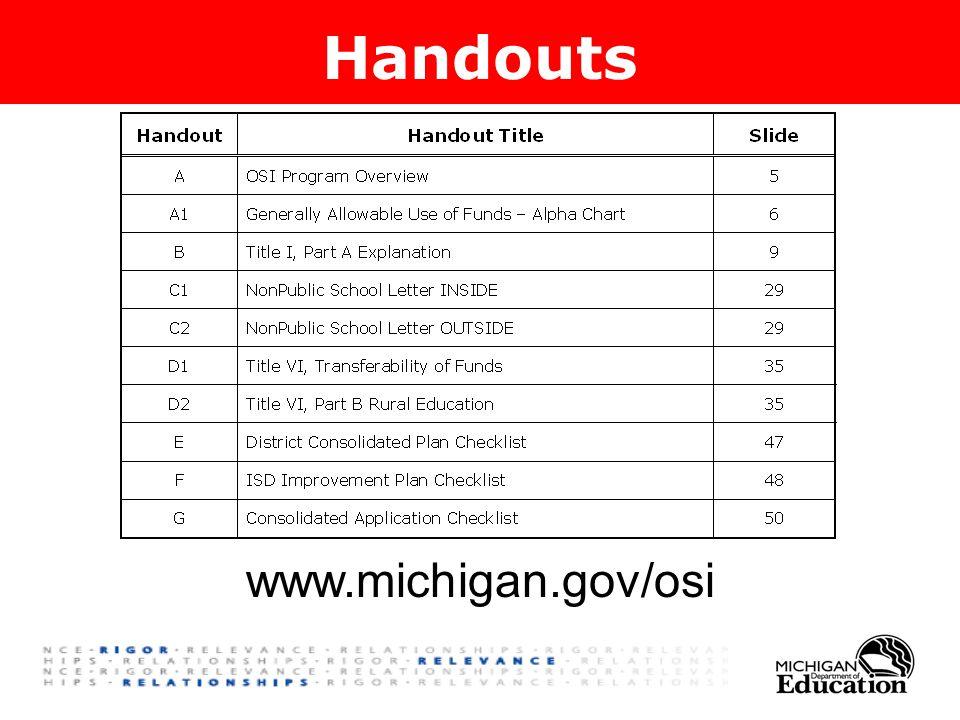 Handouts www.michigan.gov/osi