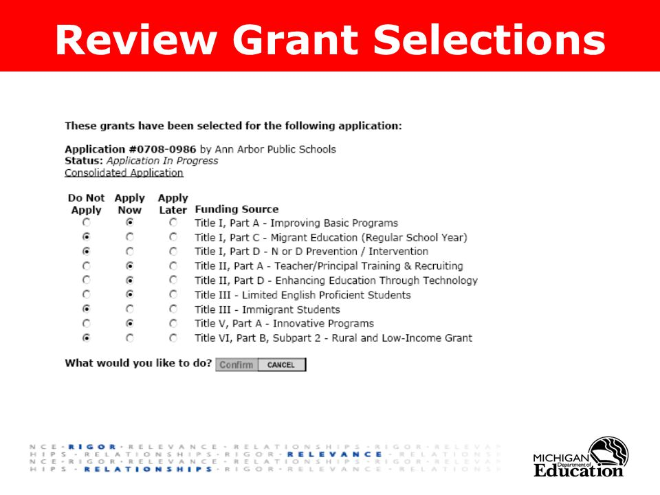 Review Grant Selections