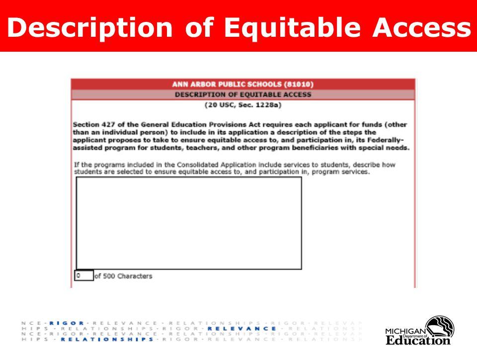 Description of Equitable Access