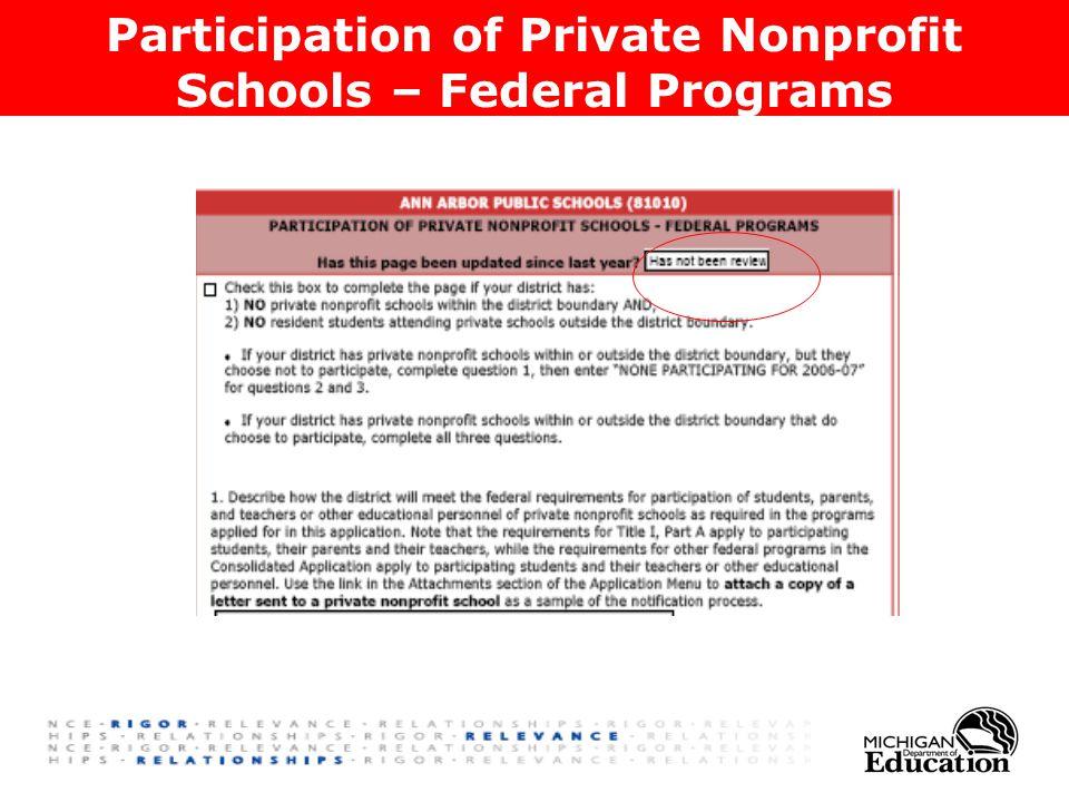 Participation of Private Nonprofit Schools – Federal Programs