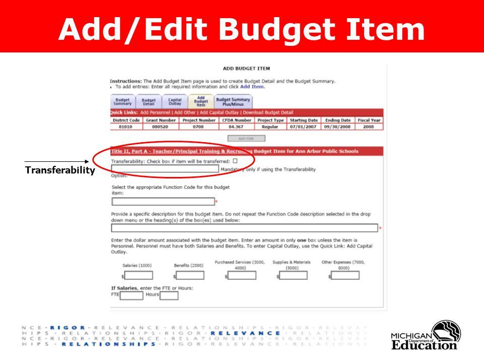Add/Edit Budget Item Transferability