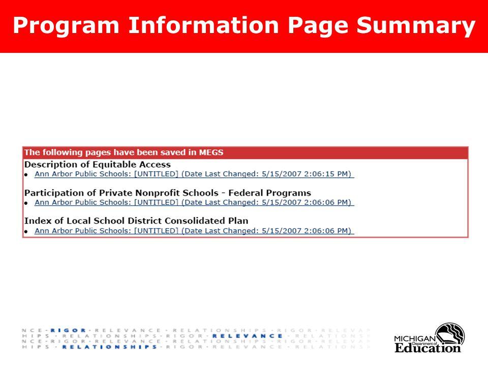 Program Information Page Summary