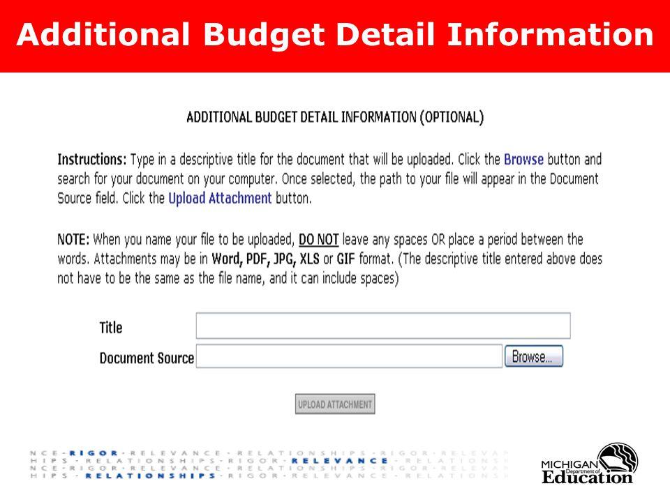 Additional Budget Detail Information