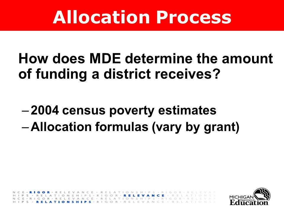 How does MDE determine the amount of funding a district receives.