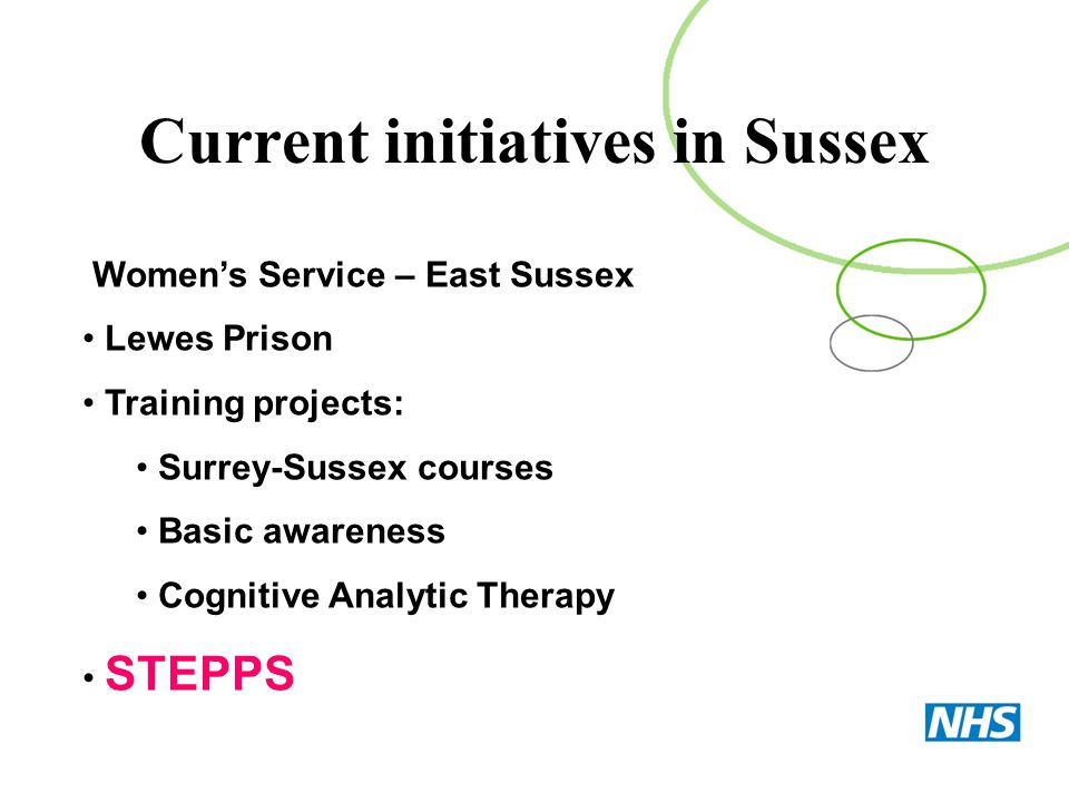 Women's Service – East Sussex Lewes Prison Training projects: Surrey-Sussex courses Basic awareness Cognitive Analytic Therapy STEPPS Current initiati