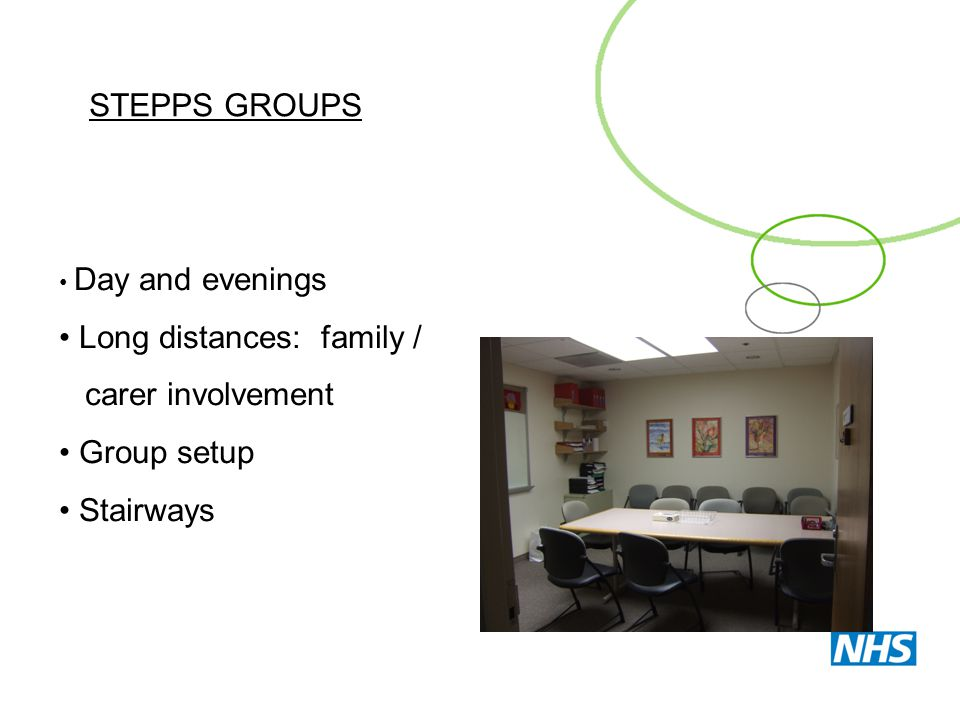 STEPPS GROUPS Day and evenings Long distances: family / carer involvement Group setup Stairways