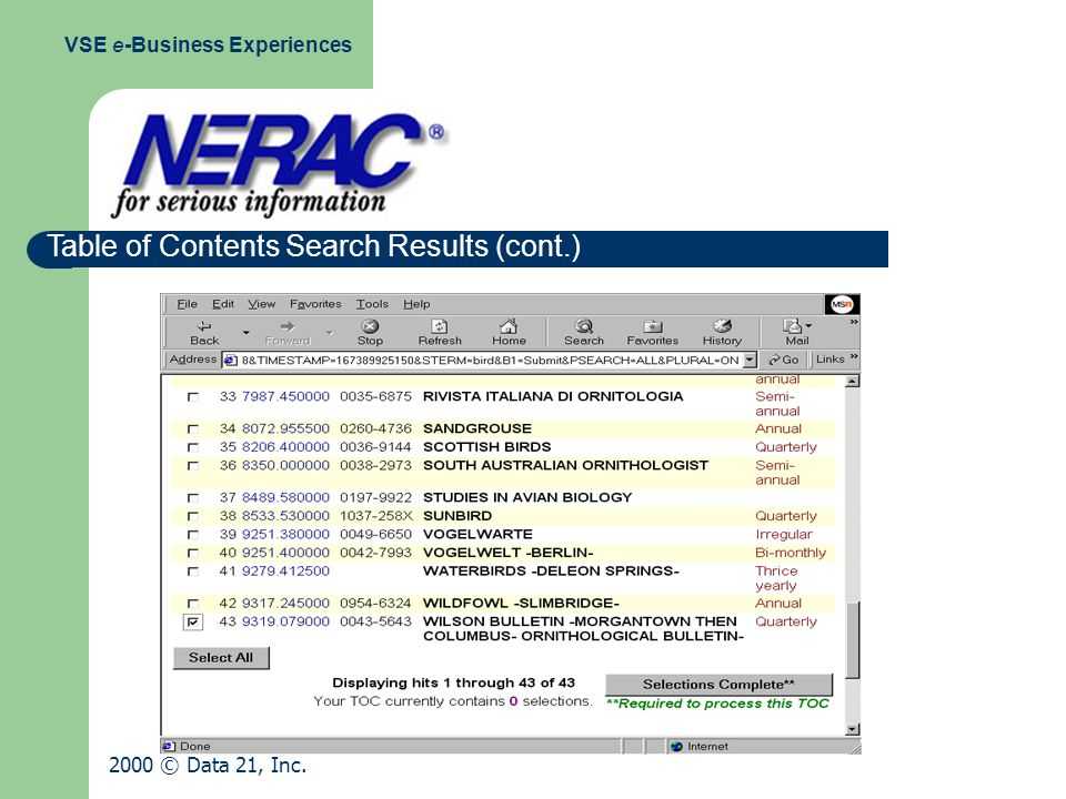 Table of Contents Search Results (cont.) VSE e-Business Experiences 2000 © Data 21, Inc.