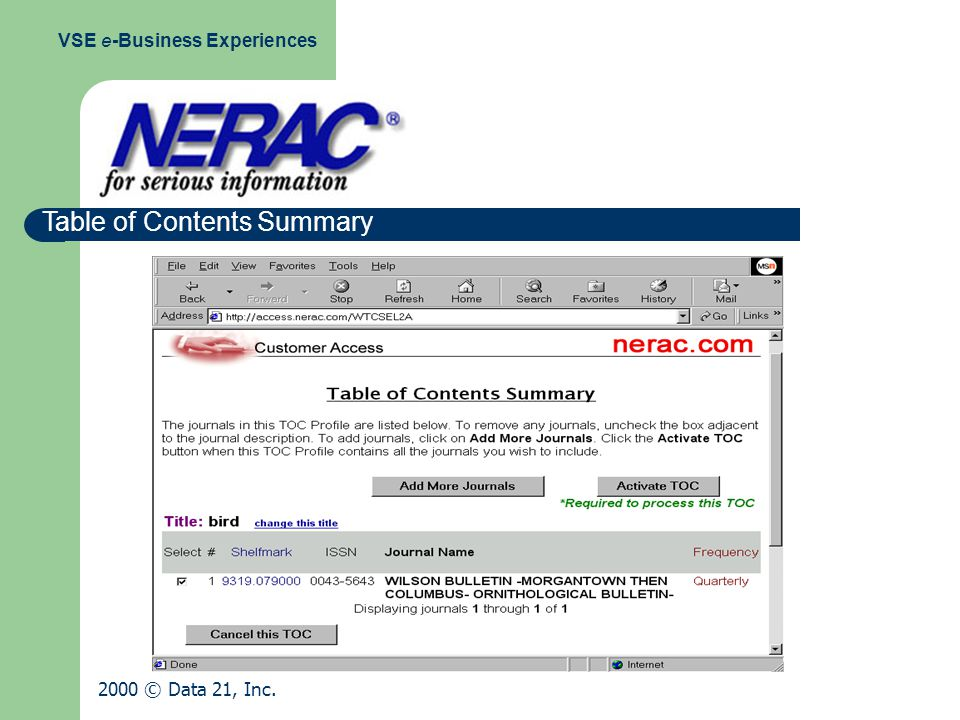 Table of Contents Summary VSE e-Business Experiences 2000 © Data 21, Inc.