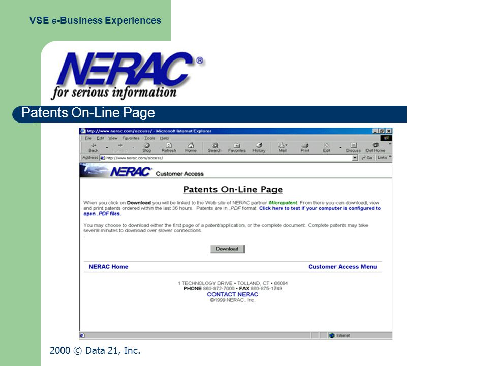 Patents On-Line Page VSE e-Business Experiences 2000 © Data 21, Inc.