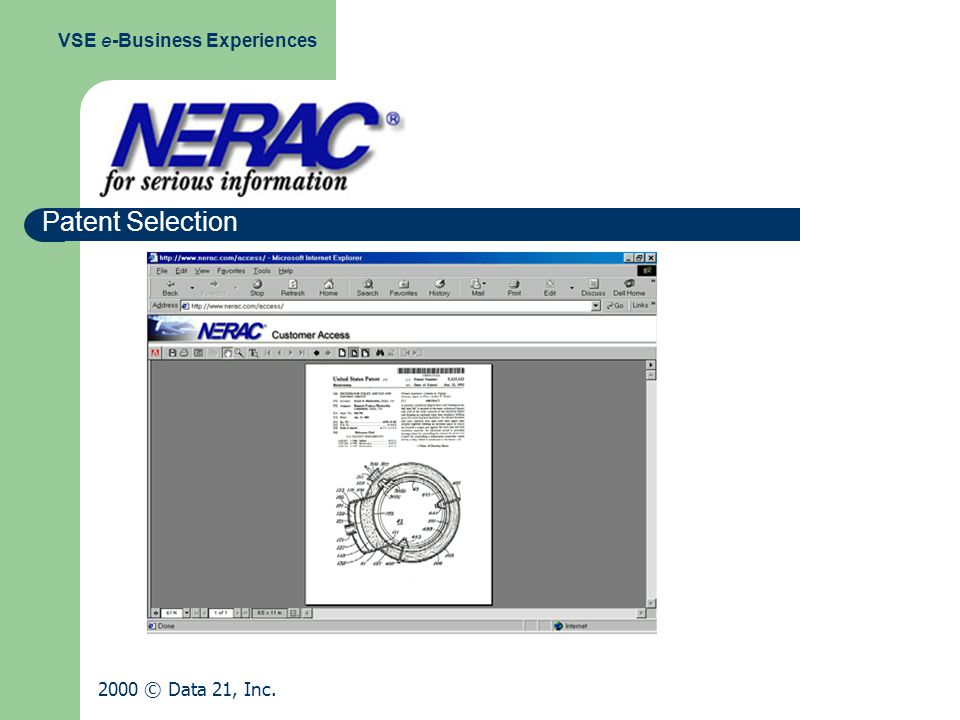 Patent Selection VSE e-Business Experiences 2000 © Data 21, Inc.