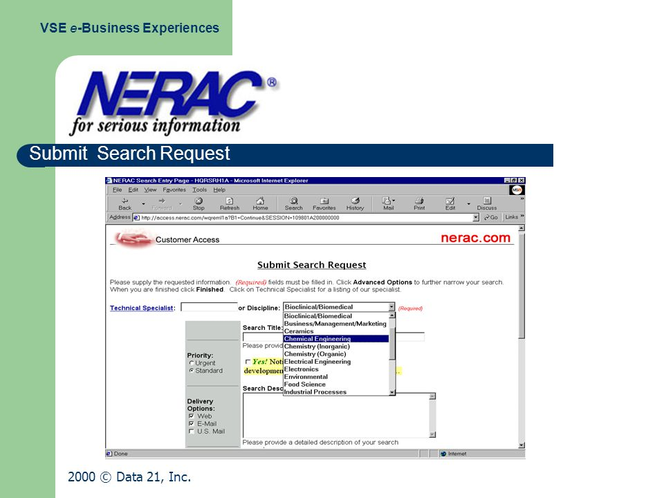 Submit Search Request VSE e-Business Experiences 2000 © Data 21, Inc.