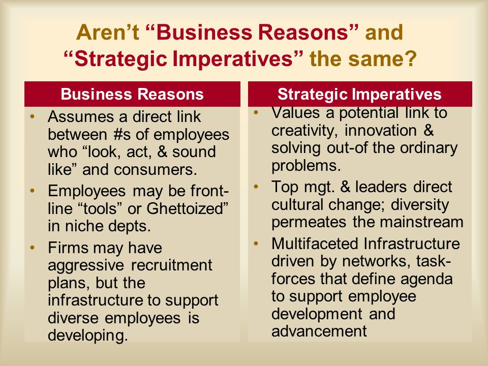 Aren't Business Reasons and Strategic Imperatives the same.