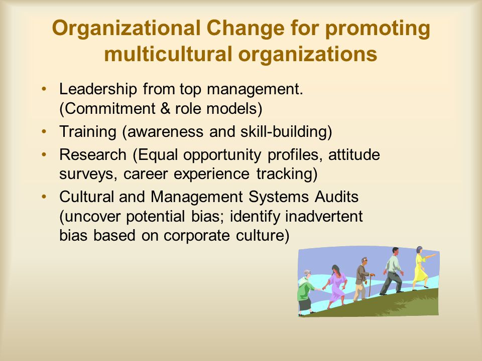 Organizational Change for promoting multicultural organizations Leadership from top management.
