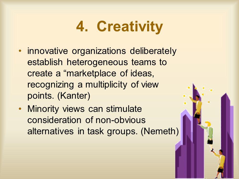 "4. Creativity innovative organizations deliberately establish heterogeneous teams to create a ""marketplace of ideas, recognizing a multiplicity of vie"