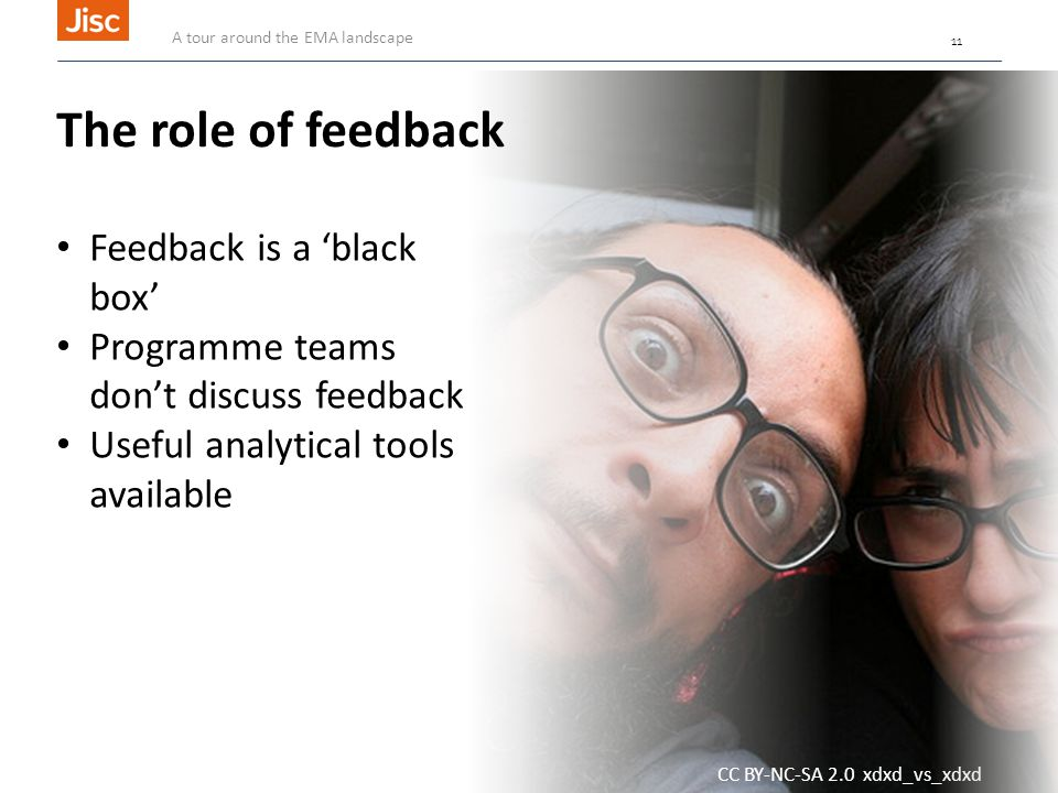 11 CC BY-NC-SA 2.0 xdxd_vs_xdxd The role of feedback Feedback is a 'black box' Programme teams don't discuss feedback Useful analytical tools available A tour around the EMA landscape 11