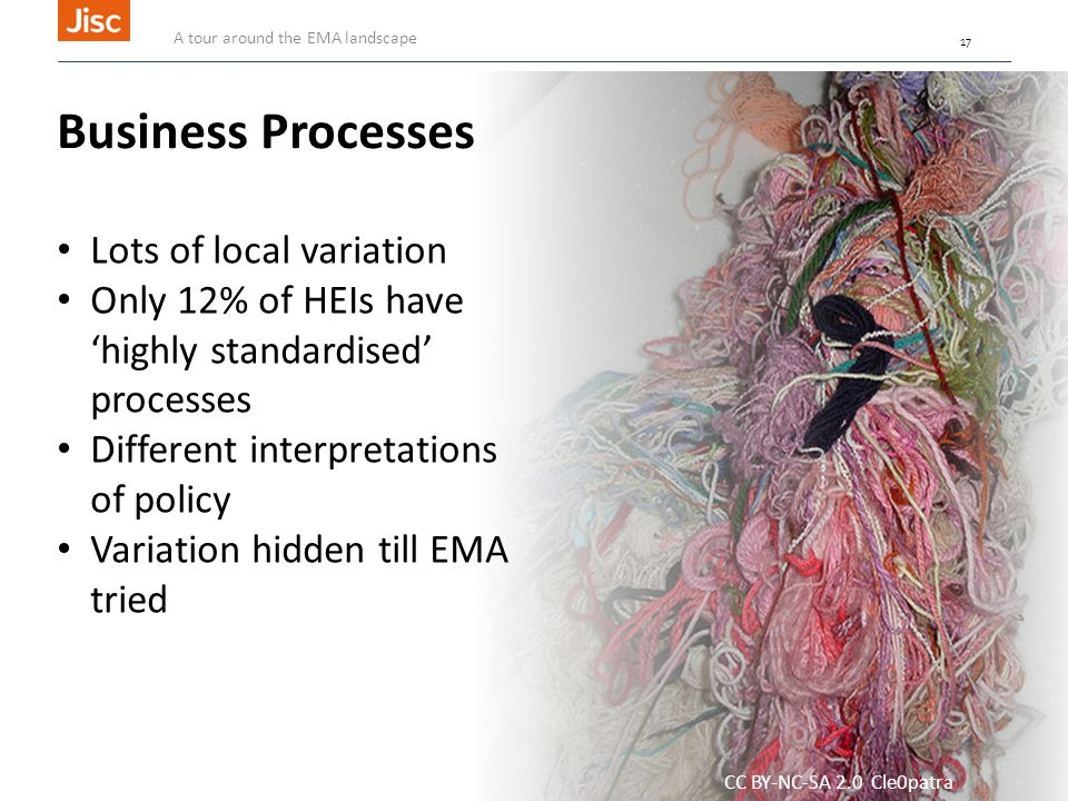 17 CC BY-NC-SA 2.0 Cle0patra Business Processes Lots of local variation Only 12% of HEIs have 'highly standardised' processes Different interpretations of policy Variation hidden till EMA tried A tour around the EMA landscape 17
