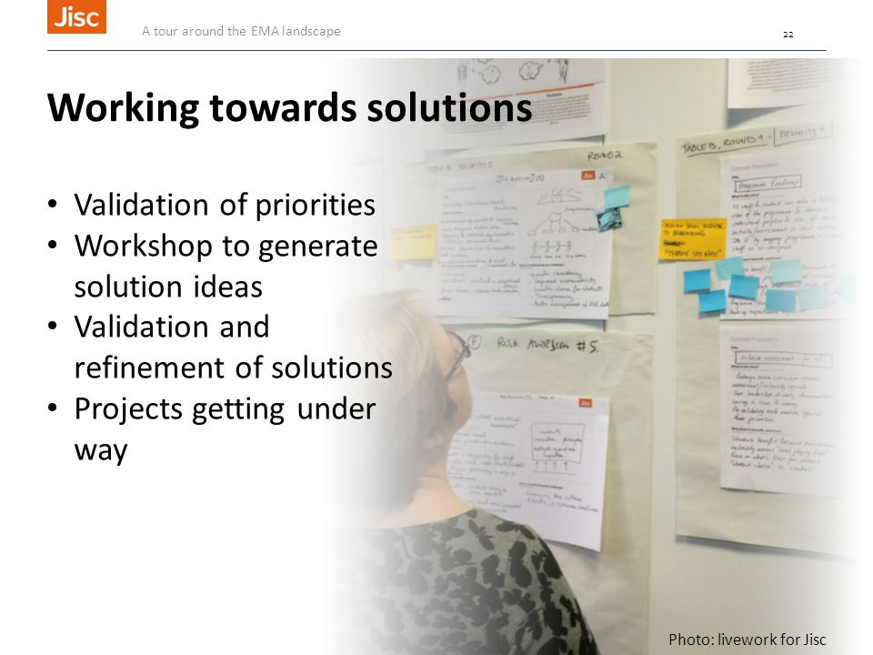 22 Photo: livework for Jisc Working towards solutions Validation of priorities Workshop to generate solution ideas Validation and refinement of solutions Projects getting under way A tour around the EMA landscape 22