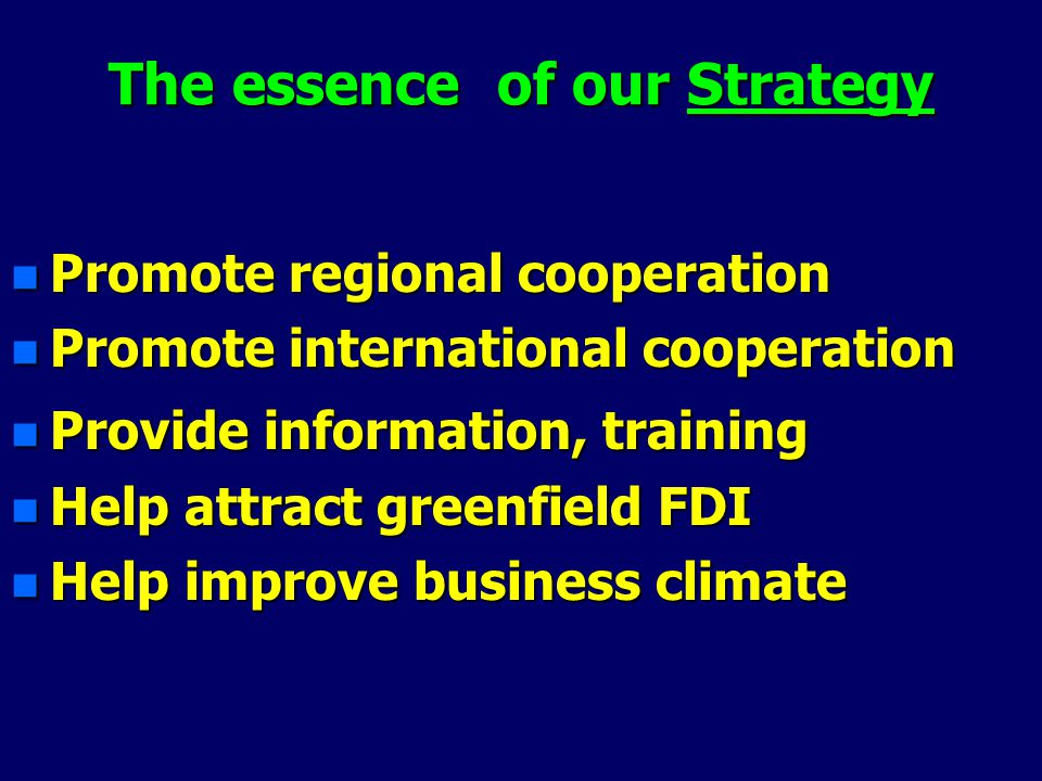 The essence of our Strategy n Promote regional cooperation n Promote international cooperation n Provide information, training n Help attract greenfield FDI n Help improve business climate