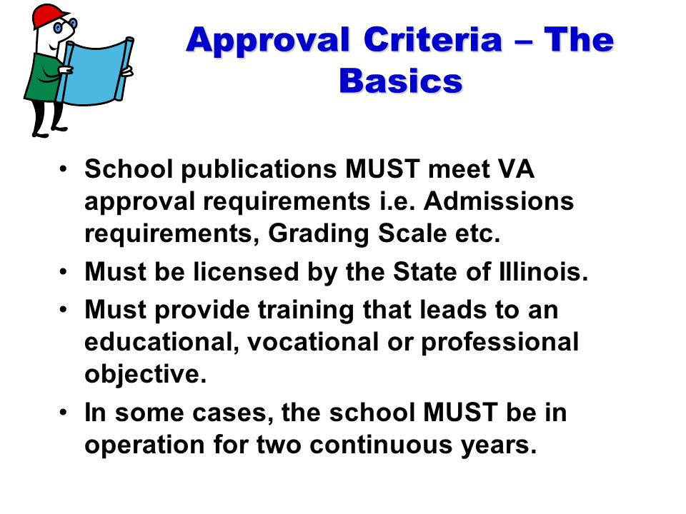 Approval Criteria – The Basics School publications MUST meet VA approval requirements i.e.