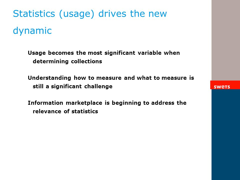 Statistics (usage) drives the new dynamic Usage becomes the most significant variable when determining collections Understanding how to measure and wh