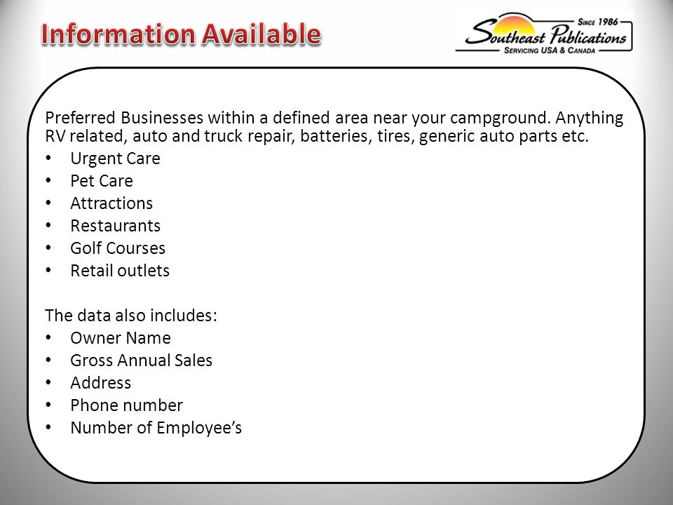 Preferred Businesses within a defined area near your campground.