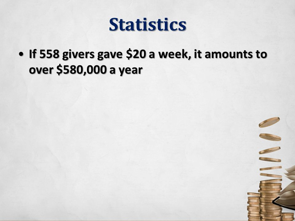 Statistics If 558 givers gave $20 a week, it amounts to over $580,000 a yearIf 558 givers gave $20 a week, it amounts to over $580,000 a year
