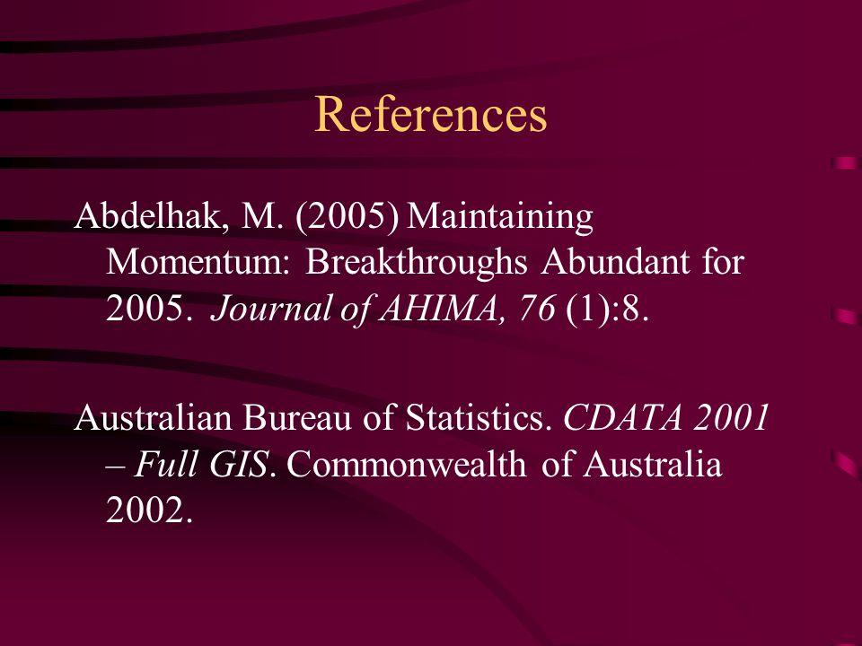 References Abdelhak, M. (2005) Maintaining Momentum: Breakthroughs Abundant for 2005. Journal of AHIMA, 76 (1):8. Australian Bureau of Statistics. CDA