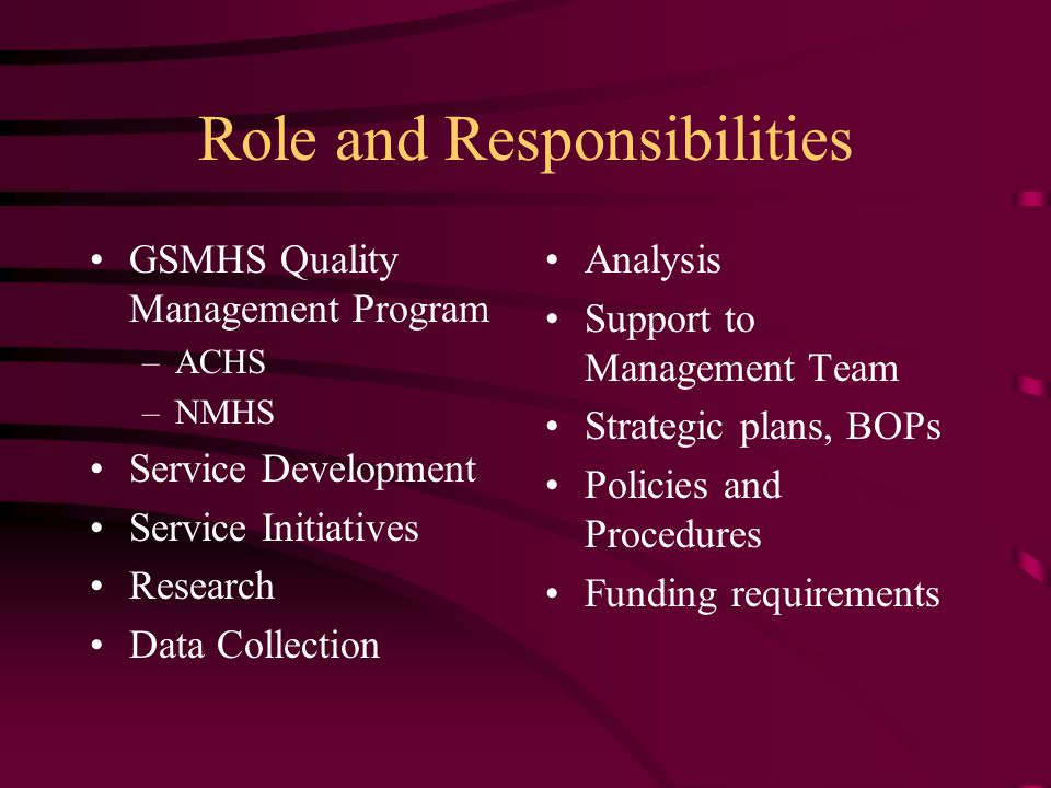 Role and Responsibilities GSMHS Quality Management Program –ACHS –NMHS Service Development Service Initiatives Research Data Collection Analysis Support to Management Team Strategic plans, BOPs Policies and Procedures Funding requirements
