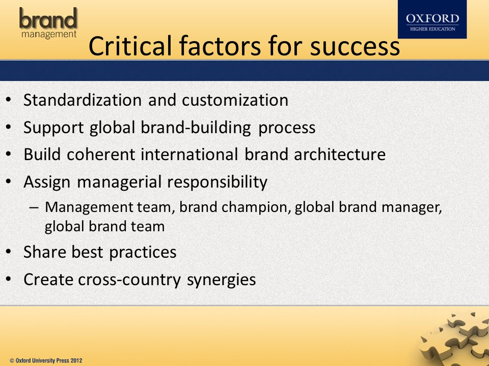 Critical factors for success Standardization and customization Support global brand-building process Build coherent international brand architecture Assign managerial responsibility – Management team, brand champion, global brand manager, global brand team Share best practices Create cross-country synergies