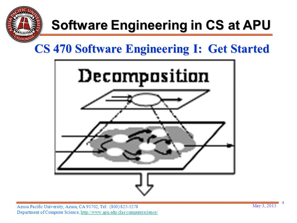 May 3, 2015 4 Azusa Pacific University, Azusa, CA 91702, Tel: (800) 825-5278 Department of Computer Science, http://www.apu.edu/clas/computerscience/h