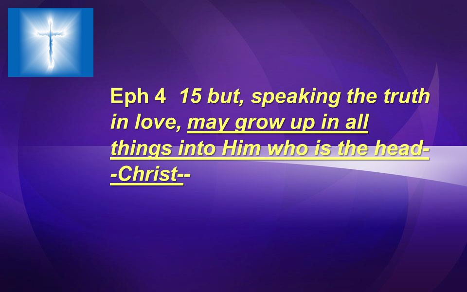 Eph 4 15 but, speaking the truth in love, may grow up in all things into Him who is the head- -Christ--