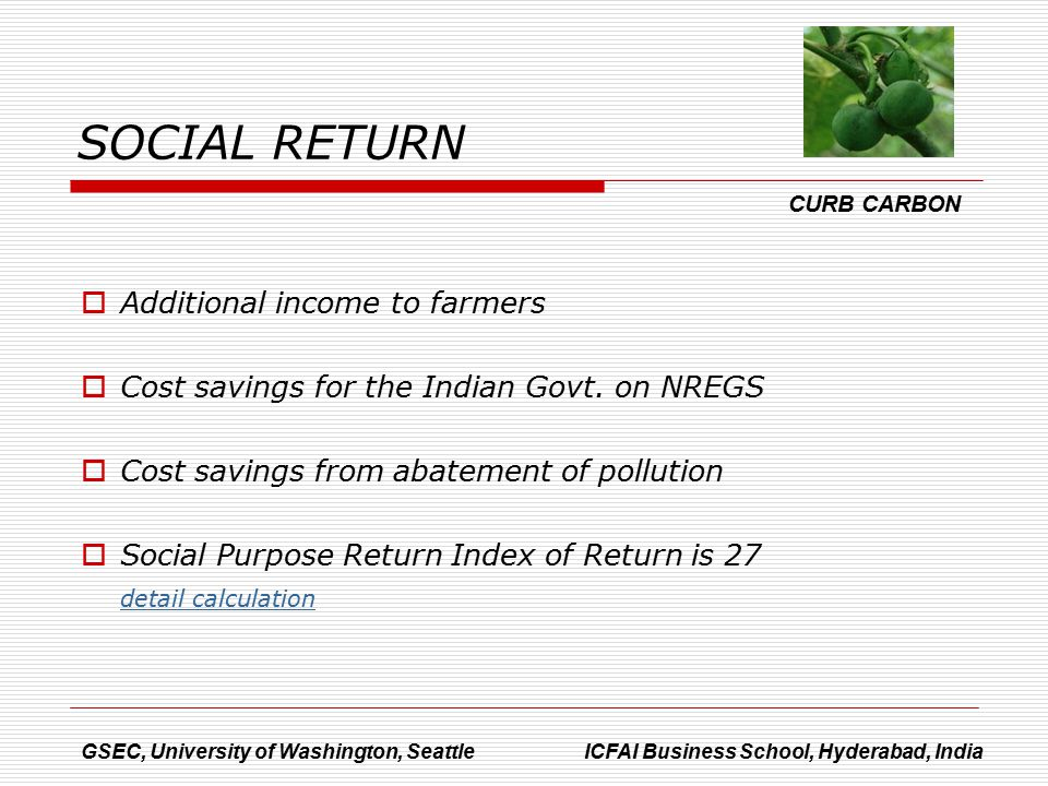  Additional income to farmers  Cost savings for the Indian Govt.