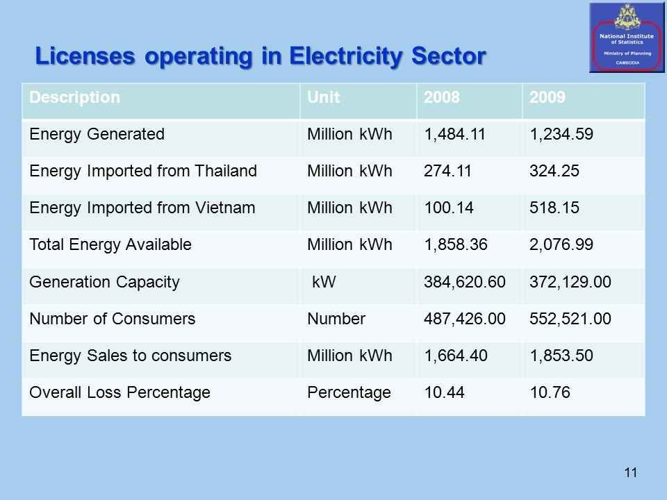 11 Licenses operating in Electricity Sector DescriptionUnit20082009 Energy GeneratedMillion kWh1,484.111,234.59 Energy Imported from ThailandMillion kWh274.11324.25 Energy Imported from VietnamMillion kWh100.14518.15 Total Energy AvailableMillion kWh1,858.362,076.99 Generation Capacity kW384,620.60372,129.00 Number of ConsumersNumber487,426.00552,521.00 Energy Sales to consumersMillion kWh1,664.401,853.50 Overall Loss PercentagePercentage10.4410.76