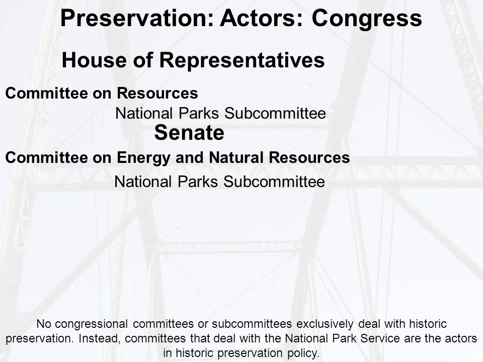 Preservation: Actors: Congress Committee on Resources National Parks Subcommittee Committee on Energy and Natural Resources National Parks Subcommittee No congressional committees or subcommittees exclusively deal with historic preservation.